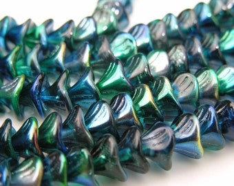 Cobalt Metallic Blue Three Petal FLower Beads   12