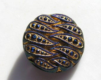 Gold and Cobalt Blue Vintage Style Czech Glass Button  1
