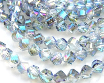 Twilight Blue 8mm Spiral Faceted Crystal Beads   10