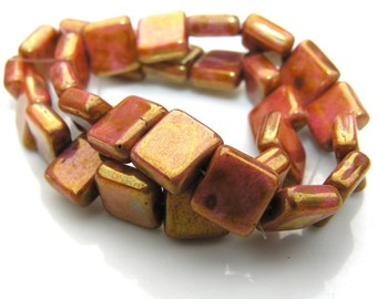 Bronze Luster 10mm Square Beads  15