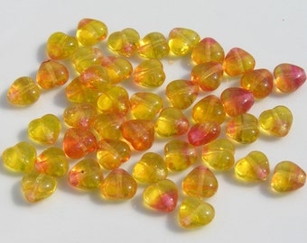Sunset Yellow and Orange 6mm Heart Beads   PRESSED GLASS   25