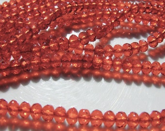 Bright Orange 5mm Faceted Czech Glass Rondelle Beads  25