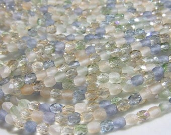 Beach Glass Mix Faceted Fire Polish 4mm Round Beads  25