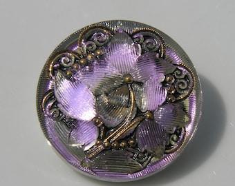 Irridescent Large Czech Glass Button