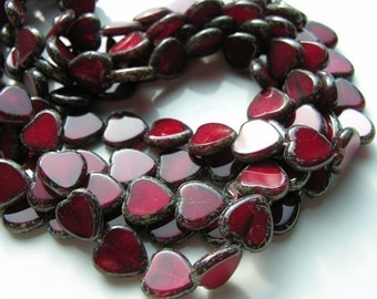 YOUR CHOICE of Window Cut Czech Glass HEART Beads  10