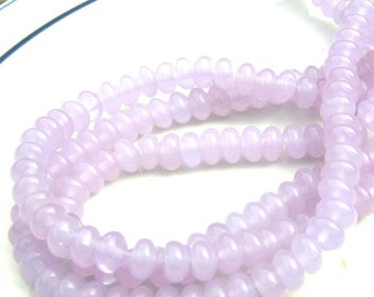 Pale Lavender Jade Smooth Rondelle Beads  FULL STRAND