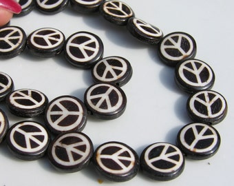 Small Horn Inlaid Peace Sign COin Beads  4
