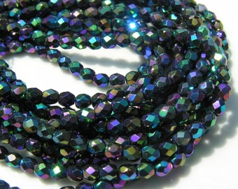 Jet Double AB 4mm Faceted Fire Polish Round Czech Glass Beads   50