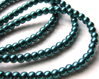 Teal Glass Pearls 6mm  FULL 16 inch Strand