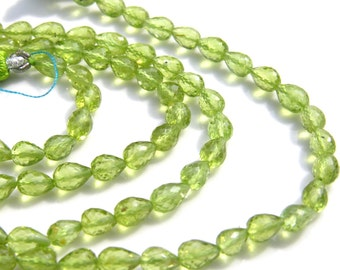 Peridot Faceted Long Drilled Teardrop Beads   6