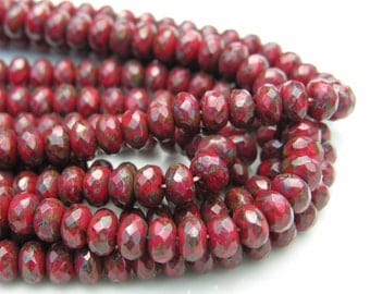 Red Picasso 7x5 Gemstone Czech Glass 6mm Rondelle Beads  25