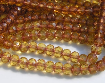 Topaz Faceted Rondelle Czech Glass Beads   25