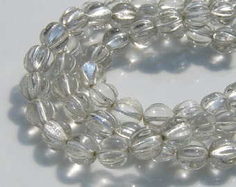 Gorgeous Crystal ad Silver Lined Melon 8mm Round Czech Glass Beads   25