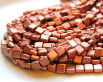 Matte Copper 6mm Square Czech GLass Beads   25