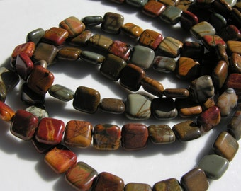 Beautiful Jasper 10mm Square Beads FULL STRAND