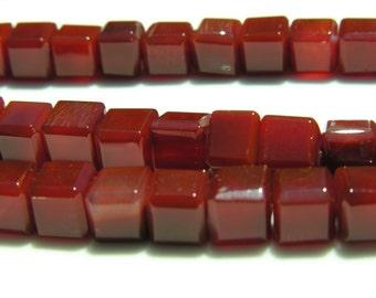 Carnelian Beveled 8mm Cube Beads  10