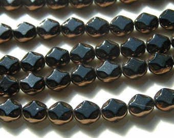 Black and Bronze Window Diamond Czech glass Beads   25