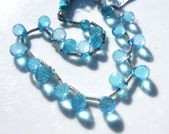 AAA Quality London Blue Topaz Faceted Pear Briolette Beads 2