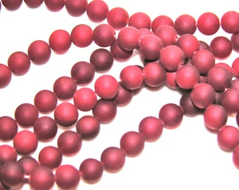 Cranberry Red 8mm Frosted Glass Round beads  8 inch strand