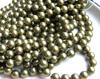 Olive Green Shell Pearl 8mm ROund Beads   25