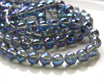 Gorgeous Montana Blue 8mm Faceted Round Crystal Beads   10