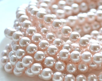 Pale Pink 6mm Round Glass Pearl Beads   FULL STRAND