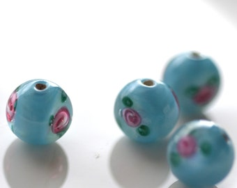 Pretty Sky Blue Czech Lampwork 12mm ROund Beads    2