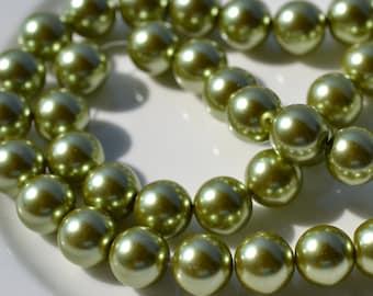 Huge 14mm Fresh Green GLass Pearl Beads    FULL STRAND