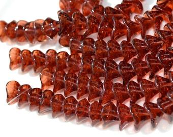 Burgundy Czech GLass Three Petal FLower Beads     12