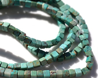 Nice Natural Turquoise 4mm Square Beads   20