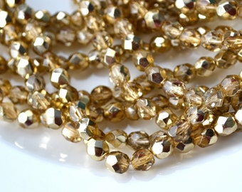 Metallic Gold 6mm Faceted Fire Polish Beads   25