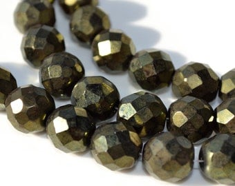Metallic Green 12mm Faceted Fire Polish Round Beads   8