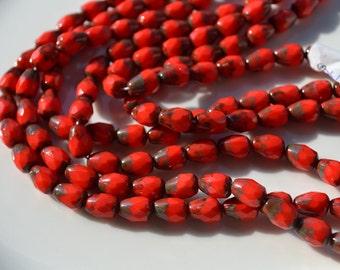 Red Picasso Thru Cut Long Drilled Czech Glass Drop Beads  12