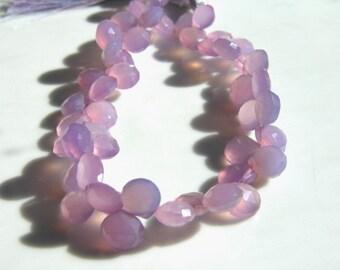 Lavender Purple Chalcedony Heart Briolette Beads  6
