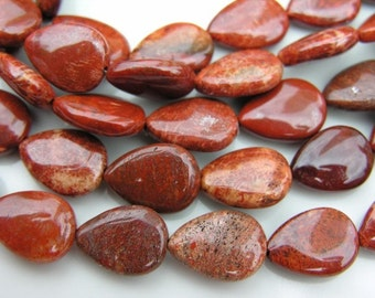 Red Sea Fossil Smooth Teardrop Beads  4