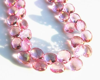Pink Topaz Faceted Heart Briolettes 8mm  One Pair