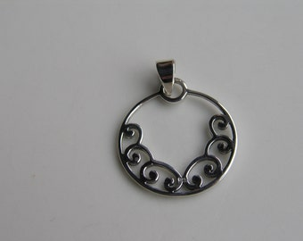Circle and Scroll Sterling Silver Pendant