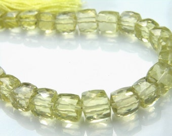 Lemon Quartz Faceted Cube Beads one pair