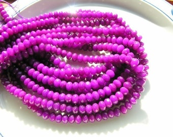 Magenta Purple Jade Faceted Rondelles  Half Strand
