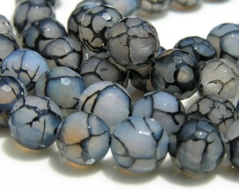Faceted Round Black Agate Beads  Half Strand 20