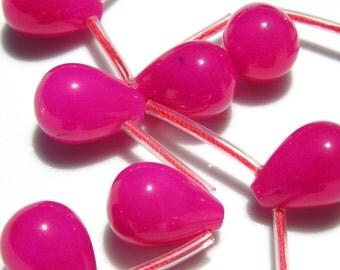 Juicy Hot Pink Jade Magenta Smooth Briolettes  2