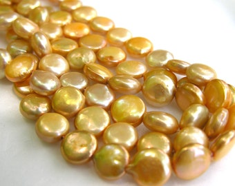 Creamy Yellow Coin Freshwater Pearls  10