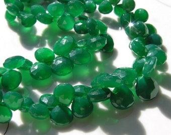 SALE  Green Chalcedony Heart Briolette Beads  5