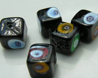 Black Venetian Glass Cubes with Millifiore   2