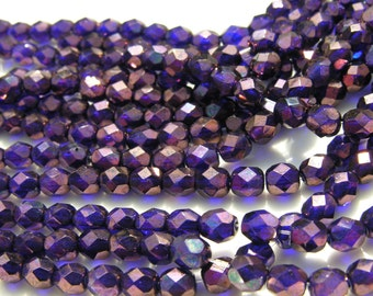 Cobalt BLue Vega 6mm Firepolish Faceted Round Czech glass Beads  25