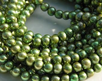 Beautiful Olive Green 6mm Round Potato Freshwater Pearls  FULL STRAND