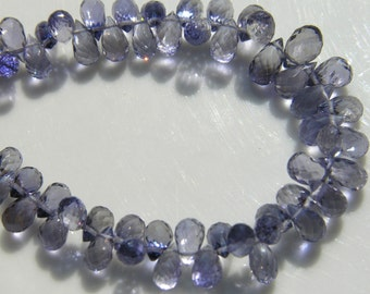 Grade A Iolite Faceted Briolette Beads   12