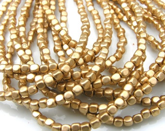 Matte Metallic Gold 4mm Czech Glass Cubes  100