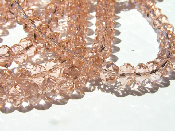 Peach Crystal Large Faceted Rondelle Beads  12