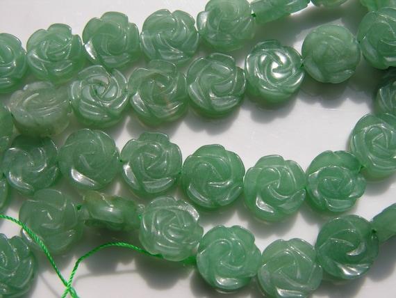 Green Aventurine Carved Flower Beads 10